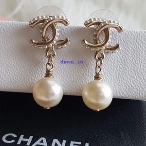 Chanel CC Pearl Dop Earrings, Light Gold